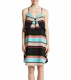 Eyeshadow® Stripe Woven Knot Bow Dress