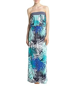 Trixxi® Strapless Palm Leaves Maxi Dress