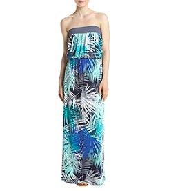 Trixxi® Strapless Palm Leaves Maxi Dress