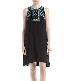 Luxology Embroidered Top Shift Dress