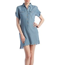 BLANKNYC® Asymmetrical Hem Chambray Shirt Dress