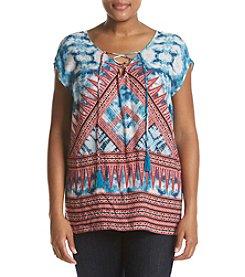 Vintage America Blues™ Plus Size Asha Lace Up Stripe Top
