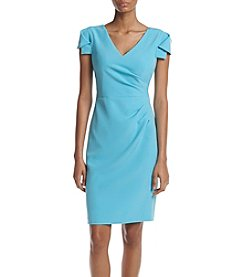 Adrianna Papell® Blue Cap sleeve Ruched Side Sheath Dress