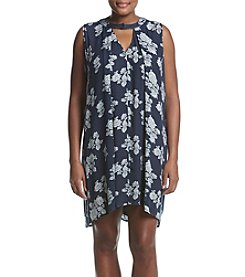 Hippie Laundry Plus Size Floral Print Chip Neck Dress