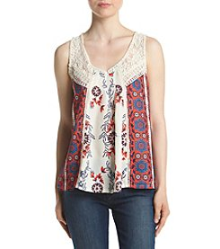Skylar & Jade® Mixed Print Crochet Trim Swing Tank