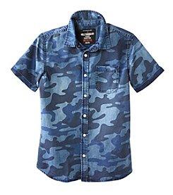 Seven Oaks Boys' 8-20 Short Sleeve Camo Printed Chambray Shirt