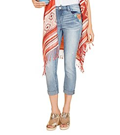 Ruff Hewn Floral Embroidered Cropped Jeans