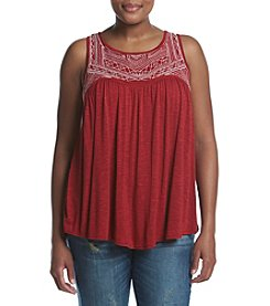 Eyeshadow® Plus Size Embroidered Yoke Knit Tank