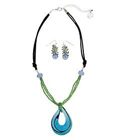 Erica Lyons® Teardrop Neck And Pierced  Earrings Gift Set