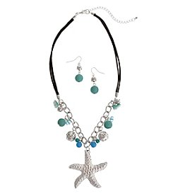 Erica Lyons® Starfish Necklace and Pierced Earrings Gift Set