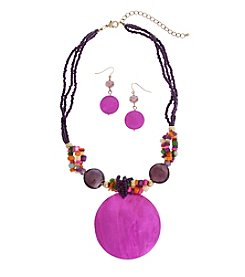 Erica Lyons® Disc Necklace and Pierced Earrings Gift Set
