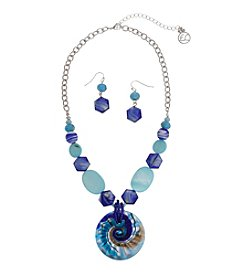 Erica Lyons® Circle Swirl Necklace and Pierced Earrings Gift Set