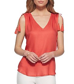 Jessica Simpson Ruffle Open Back Top