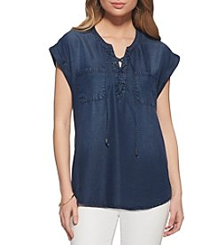 Jessica Simpson Lace-Up Denim Shirt