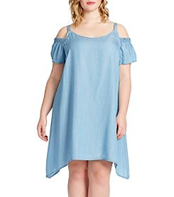 Jessica Simpson Plus Size Chambray Cold Shoulder Dress