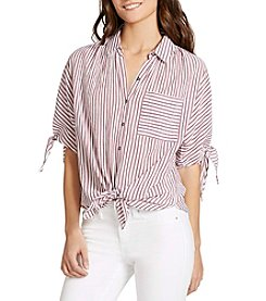 William Rast® Clapton Cold Shoulder Tie Front Top