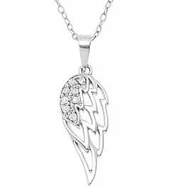 Marsala Sterling Silver Wing .10 ct. t.w. Diamond Pendant Necklace