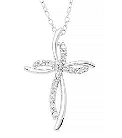 Marsala Sterling Silver Ribbon Cross Diamond .10 ct. t.w