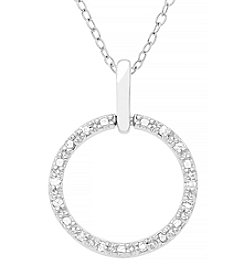 Marsala Sterling Silver .10 ct. t.w. Diamond Open Circle Pendant Necklace
