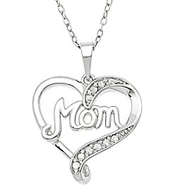 Marsala Sterling Silver .10 ct. t.w. Mom In Heart Diamond Pendant Necklace