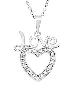 Marsala Sterling Silver Love on Heart .10 ct. t.w. Diamond Pendant Necklace