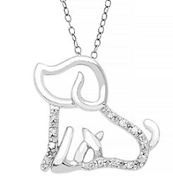 Marsala Sterling Silver Dog .10 ct. t.w. Diamond Pendant Necklace