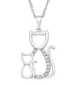 Marsala Sterling Silver .10 ct. t.w. Diamond Double Cat Pendant Necklace