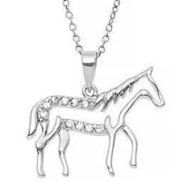 Marsala Sterling Silver .10 ct. t.w. Diamond Horse Pendant Necklace