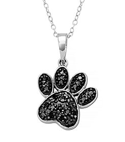 Marsala Sterling Silver .10 ct. t.w. Diamond Paw Print Pendant Necklace