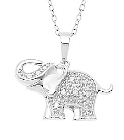 Marsala Sterling Silver .10 ct. t.w. Diamond Elephant Pendant Necklace