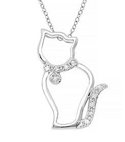 Marsala Sterling Silver Cat Diamond .10 ct. t.w Pendant