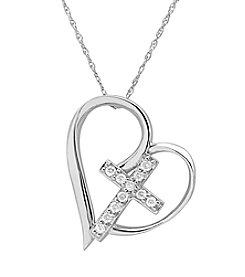 Marsala Sterling Silver Cross in Heart Diamond .10 ct. t.w. Pendant