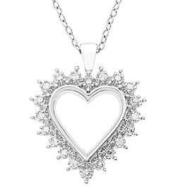 Marsala Sterling Silver Prong Set Heart Diamond .10 ct. t.w Pendant