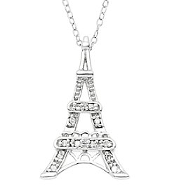 Marsala Sterling Silver Eiffel Tower Diamond .10 ct. t.w. Pendant