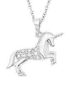 Marsala Sterling Silver Unicorn Diamond .10 ct. t.w Pendant