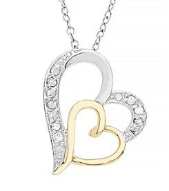Marsala Two Tone Heart Diamond .10 ct. t.w Pendant