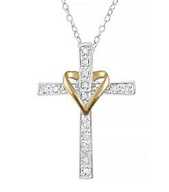 Marsala Two Tone Heart on a Cross Diamond .10 ct. t.w. Pendant