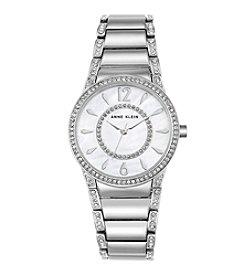 Anne Klein® Silvertone Round Crystal Bracelet Watch