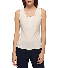 Tommy Hilfiger® Pleat Bead Neck Top