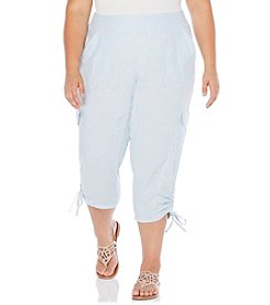 Rafaella® Plus Size Railroad Strap Linen Crop Pants