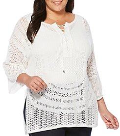 Rafaella® Plus Size Lace Up Pointelle Poncho