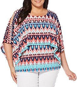 Rafaella® Plus Size Layered Cold Shoulder Top