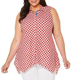Rafaella® Plus Size Flamingo Print Blouse