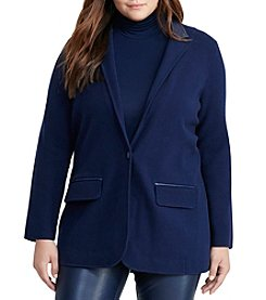 Lauren Ralph Lauren® Plus Size Faux Leather Insert Blazer Jacket
