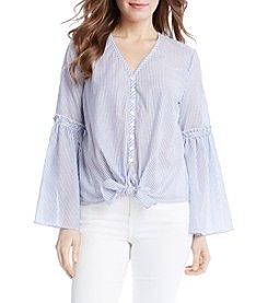 Karen Kane® Stripe Flare Sleeve Blouse