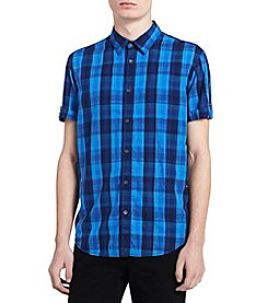 Calvin Klein Men's Short Sleeve Tattersall Button Down Shirt
