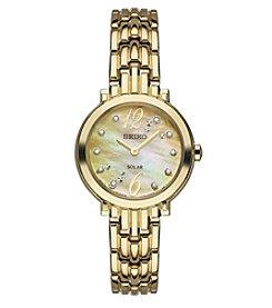 Seiko® Women's Tressia Goldtone Diamond Watch
