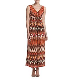 R&M Richards® Printed Beaded Maxi Dress
