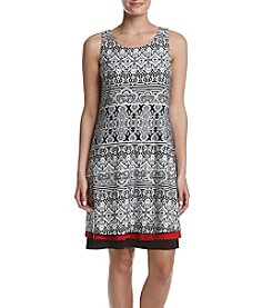 Madison Leigh® Printed Tiered Hem Shift Dress