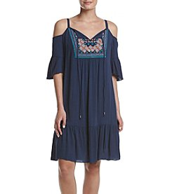 Luxology Cold Shoulder Embroidered Swing Dress